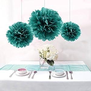 12PCS Mixed Teal Green Party Tissue Paper Flower Pom Poms Wedding Pompoms Garland Bridal Shower