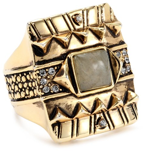 House of Harlow 1960 Gold-Plated Cushion Cocktail Ring with Moonstone, Size 8