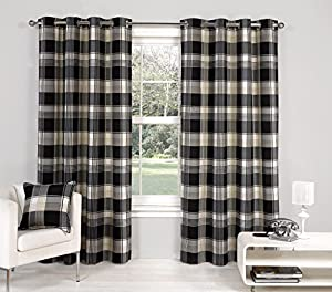"""Black Paisley Scottish Lined Ring Top Tartan Plaid Checked Curtains 46"""" X 54"""" by PCJ Supplies"""