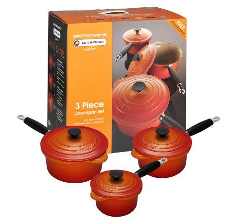Le Creuset Cast Iron Saucepan Set, Volcanic, 3 Pieces