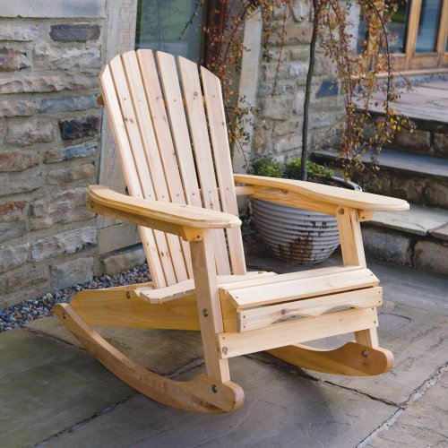 Trueshopping 'Bowland' Garden Patio Adirondack Wooden Rocking Chair + Blue & White Stripe Cushion | Natural Wood Finish | Luxury Rocker with Back & Head Cushion | Outdoor & Indoor Furniture