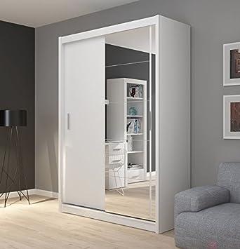 FADO white mirrored 2 door wardrobe closet with sliding doors mirror shelves hanging clothes rail bedroom hallway furniture