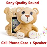 Authentic iPlush Plush Toy Multifunction Cellphone Case with Speaker (iPhone 5 5S 5C iTouch 5, Bebo Bear)