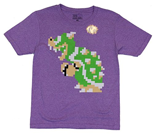 Super Mario Brothers Mens T-Shirt - 8-Bit Side Stance Bowser Image