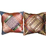 2 Blue Zardozi Ethnic Vintage Sari Zari Borders Toss Pillow Cushion Covers Free Shippingby Mogulinterior