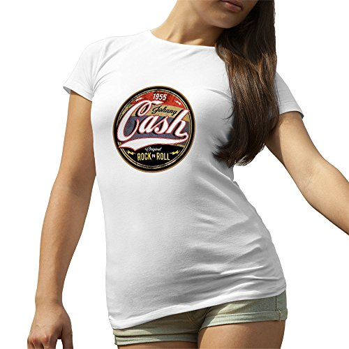Johnny Cash Rock N Roll Bianca T-Shirt maglietta per le donne Medium