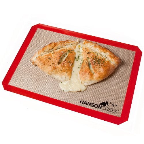 Sale Today – Hanson Creek Silicone Baking Mat – Highest Quality – Heavy Duty Professional Non-Stick Bakeware For Rolling, Kneading, Baking, Freezing – Use With Cookies, Pastries, Bread, Candy, Meats, Veggies – Convenient Half-Size (11 5/8 X 16 1/2 in.) Fits Standard Cookie Sheet Perfectly – Reusable And Eco-Friendly – No Hassle Guarantee – Bonus Downloadable Baking Manual Included Free