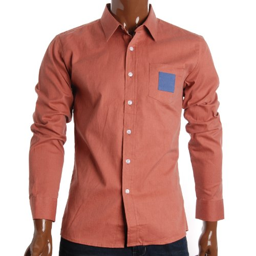 FLATSEVEN Mens Slim Fit Square Patched Pocket Casual Dress Shirts (SH144) Wood, XL