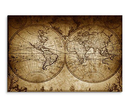 100X 70Cm image sépia carte du monde vintage 1733