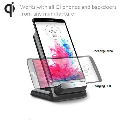 Tmvel T2 Wireless Charging Mount Cradle Stand For Qi-Enabled Phones And Tablets Lg G3, Nexus 6 5, Samsung, Iphone - Retail Packaging - Black