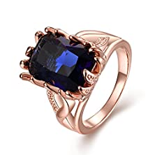 buy Randell 18K Rose Gold Plated Solitaire Sapphire Blue Womens Diamond Cz Ring Twisting Split Shank Size 7