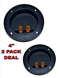 2 PACK SPEAKER ROUND DJ BOX TERMINAL CUP GOLD POST SUBWOOFER CABINET ENCLOSURE