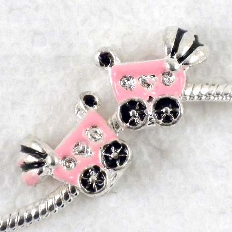 2pcs Fine Silver Pink Baby Cart Large Hole Charm Beads Fit Bracelet ~Jewelry Finding~