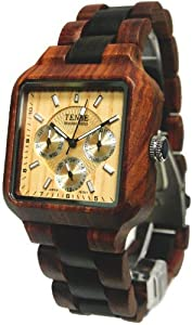 Tense Mens Multi-Eye Date Time Month Square Wood Watch B7305SD LF from Tense