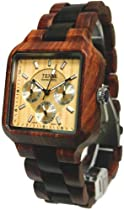 Tense Mens Multi-Eye Date Time Month Square Wood Watch B7305SD LF