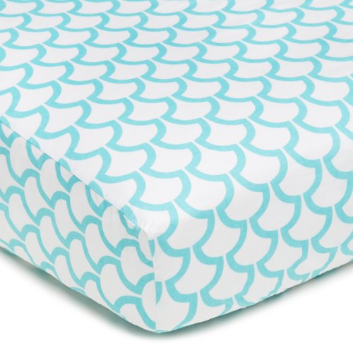 American Baby Company 100% Cotton Percale Fitted Crib Sheet, Aqua Sea Waves front-3219