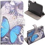Voguecase Huawei Ascend G7 Elegante borsa in pelle Custodia Case Cover Protezione chiusura ventosa (farfalla...