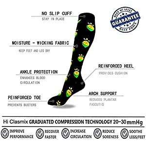 1 Pairs Compression Socks for Women&Men (20-30mmHg)- Best for Running, Travel,Cycling,Pregnant,Nurse, Edema (Color: Multicoloured3-3, Tamaño: Large/X-Large(US SIZE))