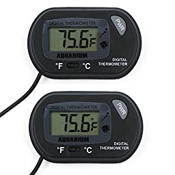 Jellas LCD Digital Aquarium Thermometer- For Hydroponics Aquarium Fish Tank Vivarium Reptile Terrarium (2 Pack)