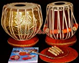 MAHARAJA Designer Tabla Drum Set, 3KG Brass Bayan, Finest Dayan with Padded Bag, Book, Hammer, Cushions & Cover (PDI-FG)