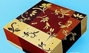 1 Tortenkarton einteilig, Pappe eckig 34 x 34 x 11cm Braun Gold Tortenboxen