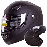 Modular Flip-up Motorcycle Helmet Matte Flat Black DOT #936 (Large)