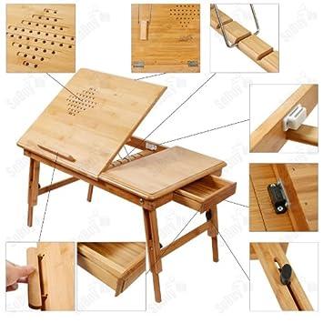 sobuy fbt04 n table de lit pliable pour pc portable notebook double plateaux en bambou un set. Black Bedroom Furniture Sets. Home Design Ideas