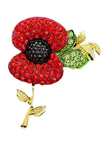 UK Seller Poppy Gold Brooch Red Diamante Crystal Rhinestone