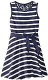 Nautica Big Girls Jersey Stripe Tank Dress with Lace Back Yoke
