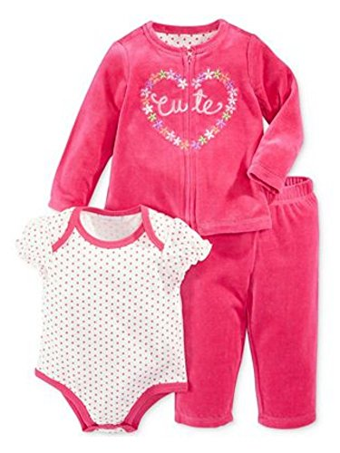 First Impressions Infant Girls 3 Piece Pink Velour Cutie Pants Shirt & Sweater