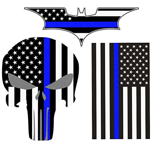Bundle Reflective Thin Blue line Stickers - Thin Blue Line US Flag, Punisher Skull, Dark Night Decals Stickers, American USA Flag Vinyl Stickers Honoring Police Law Enforcement (Window Washing Fluid For Car compare prices)