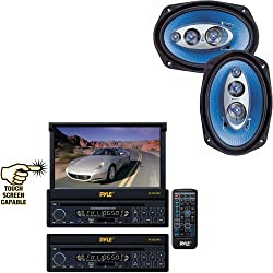 See Pyle Vehicle Audio System for Car, Van, Truck, Mobile etc. - PLTS73FX 7' Single DIN In-Dash Motorized Touch Screen TFT/LCD Monitor w/ DVD/CD/MP3/MP4/USB/SD/AM-FM Player - PL6984BL 6'x 9' 400 Watt Four-Way Speakers (Pair) Details