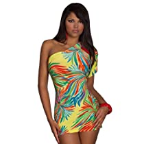 Intimates21 - Valentine's Day New 2013 Sexy One Shoulder Floral Printed Mini Clubbing Dress Clubwear (yellow)