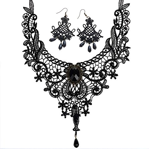 conteverr-1-set-jewellery-vintage-gothic-victorian-elegant-lace-necklace-fan-shaped-earring