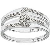 Ensemble Bague de fiançailles et alliance Femme - PR09816W-L -  Or Blanc 375/1000 (9 Cts) 2.9 Gr - Diamant
