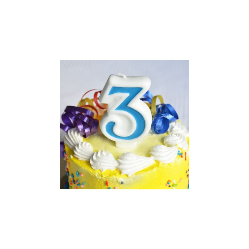 Number 3 Numerals Birthday Party Cake Candle   Blue