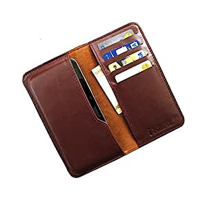 i-KitPit : Genuine Leather Wallet Flip Pouch Case For Panasonic P31 (BROWN)