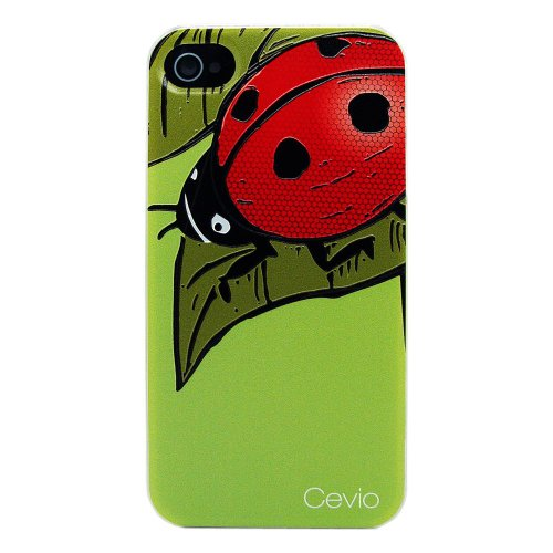 2013 New Type (Laser Color Carving) Case for Iphone 4, Iphone 4s, Protective Skins, Carrying Cases, Ultra Thin and Strong Case+ Protective Film (Big ladybug)