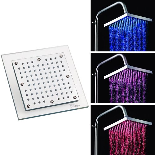 Fuloon 7.8 inch Square LED Light Shower Head Set Pink Red Blue Color Changes As The Water Temperature Changes