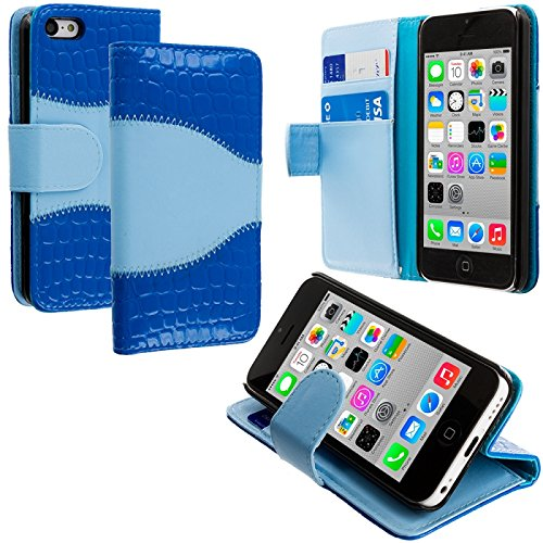 Cell Accessories For Less (Tm) Baby Blue Blue Crocodile Leather Wallet Pouch Case Cover With Slots For Apple Iphone 5C - By Thetargetbuys front-771883