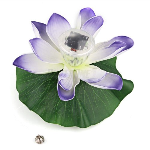 Solar Power Rgb Led Lotus Flower Light Lamp Floating Pond Garden Pool Nightlight