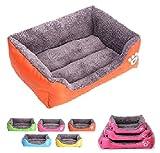 JOSS PET LAND 丸洗い出来る 犬 猫 ペット用 ベッド スクエア型 ソファ クッション 水洗い ふわふわ もこもこ (L オレンジ)