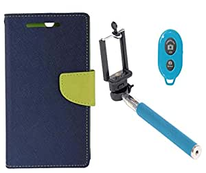 Novo Style Book Style Folio Wallet Case HTC Desire 516 Blue + Selfie Stick with Adjustable Phone Holder and Bluetooth Wireless Remote Shutter