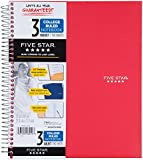 Five Star Wirebound Notebook, 3-Subject, 150 College Ruled Sheets, 1 Notebook, Assorted Colors (06210) 5 Pack