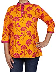 Comfortable Airy Summer Clothes Indian Kurti Women Shirt Cotton Printed For Women - B0146DFQVY