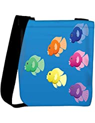 Snoogg A Vector Image Of Jellybean Or Parrot Cichlid Fish In Bright Colours Womens Carry Around Cross Body Tote...