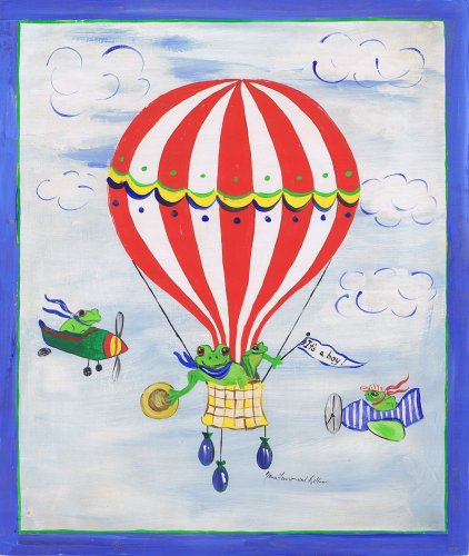 The Kids Room by Stupell It's a Boy Frogs in a Hot Air Balloon Rectangle Wall Plaque