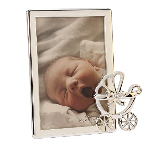Baby Silver Plated Pram Photo Frame In Gift Box By Haysom Interiors front-151964