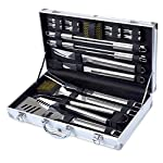 Kacebela BBQ Tools Set, 19-Piece Grill Tools set, Heavy Duty Stainless Steel Barbecue Grilling Utensils, Premium Grilling Accessories for Barbecue - Spatula, Tongs, Fork, and Basting Brush