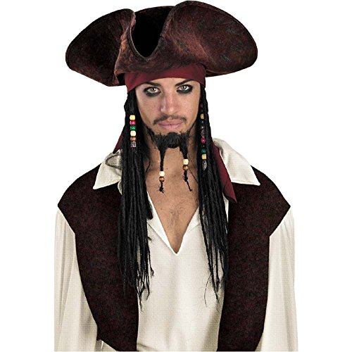 Jack Sparrow Adult Pirate Hat w/ Beaded Braids